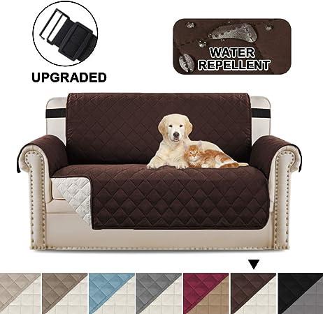 Image ofBellaHills Protectores de sofá Impermeables de 2 plazas de Mascotas/Perros Fundas de sofá Fundas de Muebles Antideslizantes Color Reversible (2 plazas, marrón/Beige)