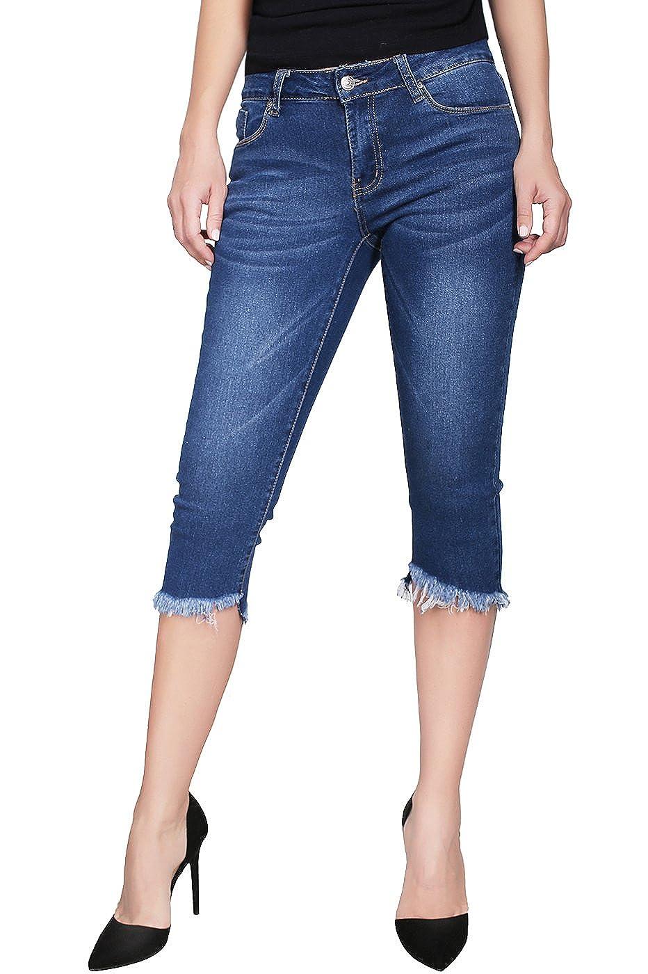 Denim Medium1 2LUV Women's Stretchy 5 Pocket Skinny Capri Jeans