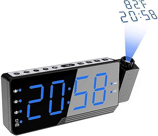 AMOWON Despertador Digital Proyector, FM Radio Reloj Despertador ...