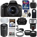 Canon EOS Rebel T6i Wi-Fi Digital SLR Camera & EF-S 18-55mm & 55-250mm is STM Lens 32GB Card + Case + Filters + Flash + Tele/Wide Lens Kit