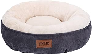 EMME Pet Bed for Cats and Small Dogs 20in Donut Cat Bed Round Shape Dog Beds with Non-Slip Bottom Cozy, Warming and Machine Washable Cuddler Cushion Bed for Puppy Kitten and Newborn Pets