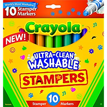 Crayola; Ultra-Clean; Stamper Markers; Art Tools; 10 ct. Markers; Bright, Bold Washable Colors; Emoticons