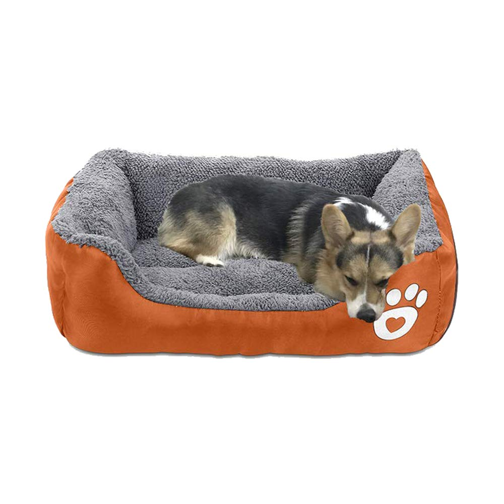 AsFrost Dog Bed, Super Soft Pet Sofa Cats Bed, Non Slip Bottom Pet Lounger,Self Warming and Breathable Pet Bed Premium Bedding (M)-Orange by AsFrost
