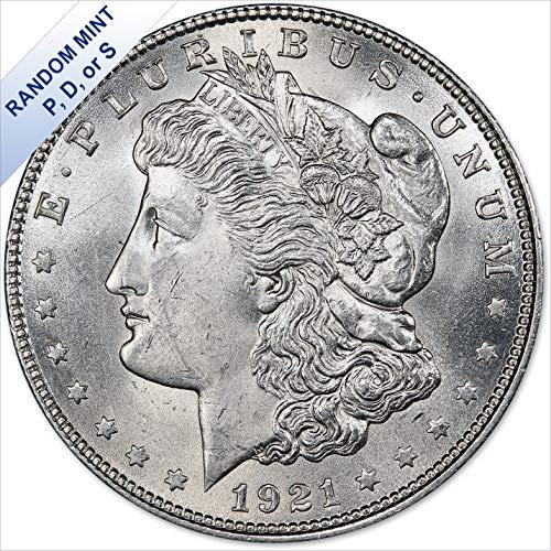 1921 Morgan Silver Dollar (BU) Random Mint - (with Air-Tite Holder) $1 Brilliant Uncirculated