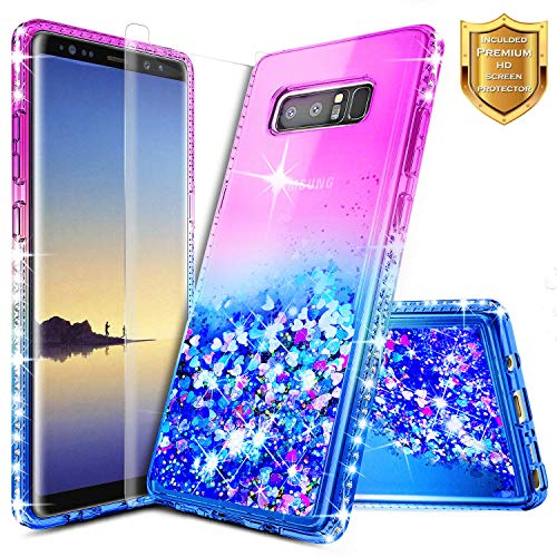 Galaxy Note 8 Glitter Case, NageBee Liquid Quicksand Waterfall Flowing Sparkle Shiny Bling Diamond Girls Cute Case w/[Full Cover Screen Protector Premium Clear] for Samsung Galaxy Note 8 -Purple/Blue