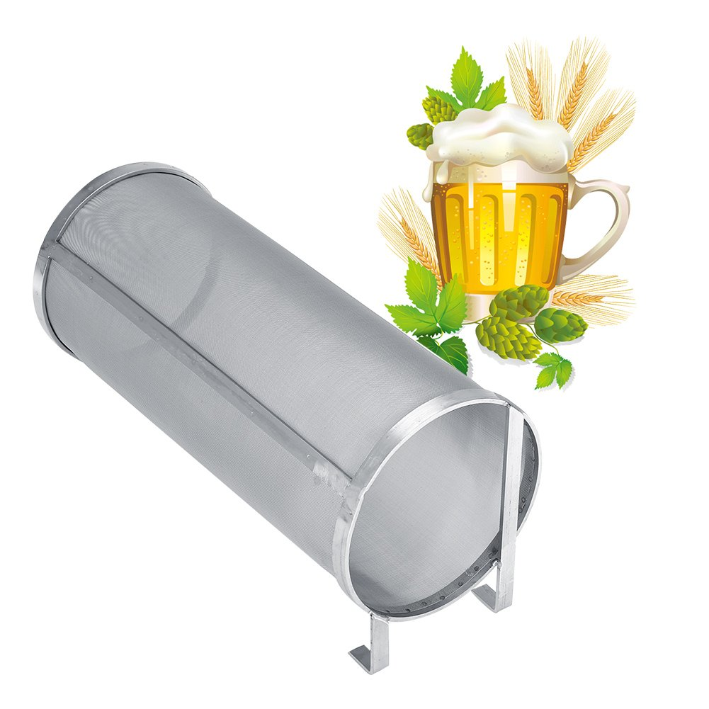 Stainless Steel Brew Filter, Homemade Brew Beer Hop Mesh Filter Strainer 300 Micron Beer Mesh Strainer with Hook for Home Brew Kegging Equipment (5.91 x 13.78in)
