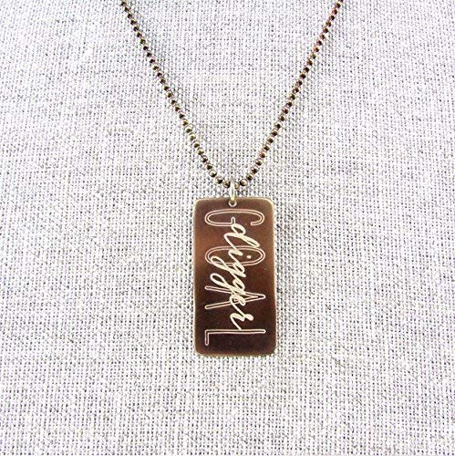 Goal Digger Necklace | Dog Tag Style Engraved Bronze Pendant on Brass Ball Chain