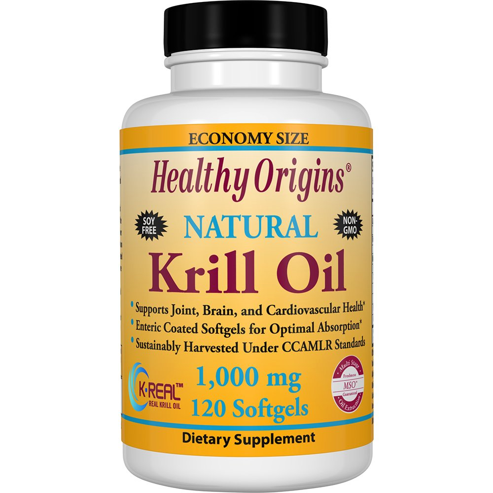 Healthy Origins Krill Oil 1,000 mg, 120 Enteric-Coated Softgels