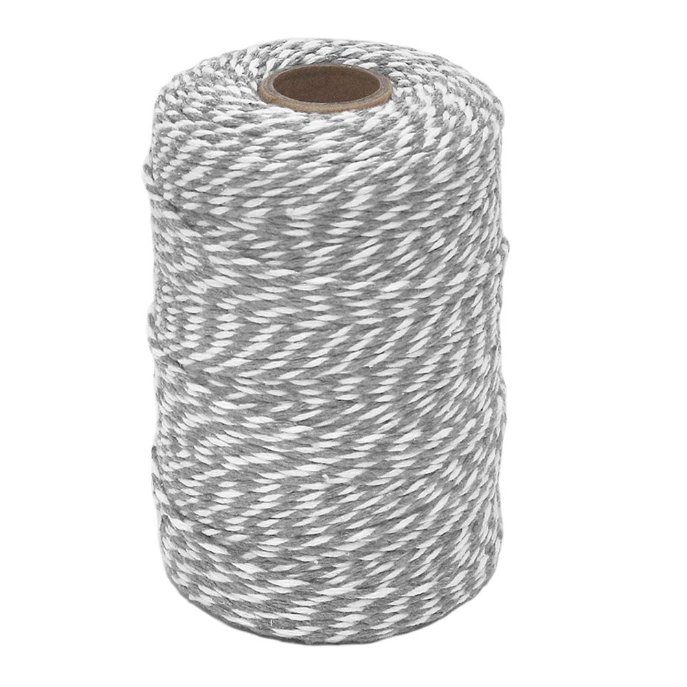656 Feet 2mm Striped Cotton Bakers Twine for Baking Crafting Tenn Well Grey and White Twine Christmas Gift Wrapping Packing