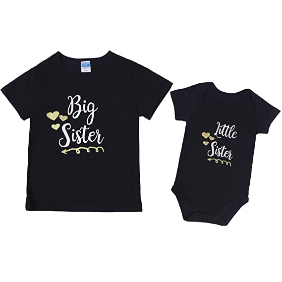 Aibixi Newborn Baby Girls Romper Tops Big Sister Little Sister Matching Outfits Clothes Set