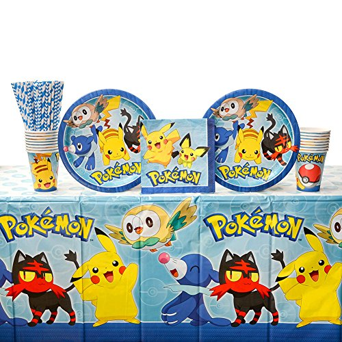 Pokemon Core Birthday Party Supplies Pack for 16 Guests: Straws, Dinner Plates, Luncheon Napkins, Table Cover, and Cups]()