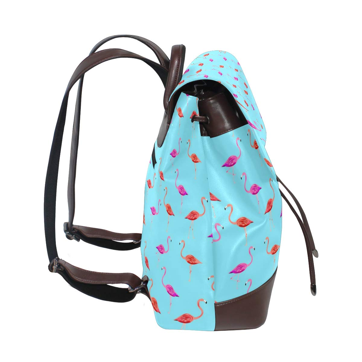 Leather Flamingo Pattern Background Blue Backpack Daypack Bag Women
