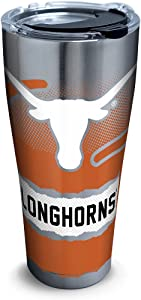 Tervis 1267974 Texas Longhorns Knockout Stainless Steel Tumbler with Clear and Black Hammer Lid 30oz, Silver -