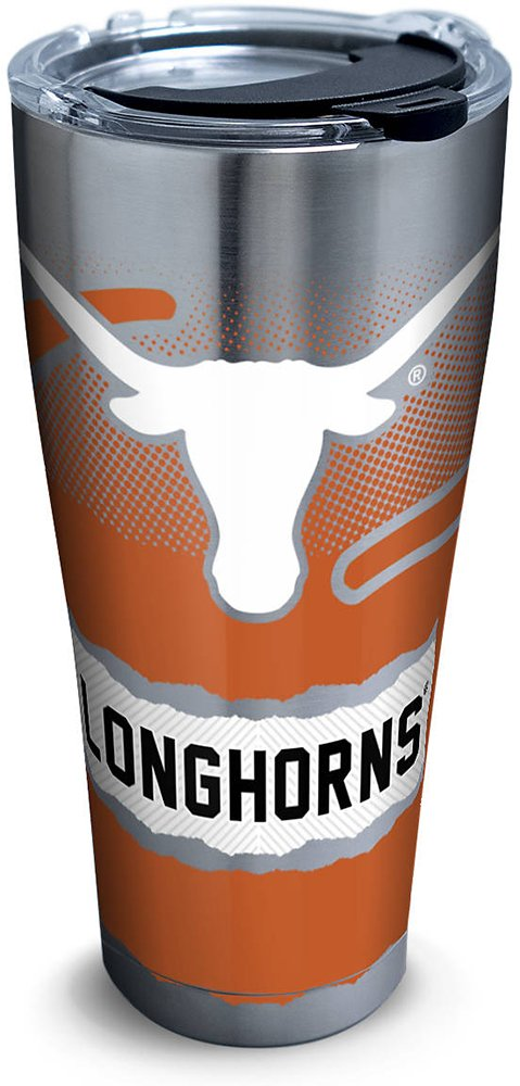 Tervis 1267974 Texas Longhorns Knockout Stainless Steel Tumbler with Clear and Black Hammer Lid 30oz, Silver