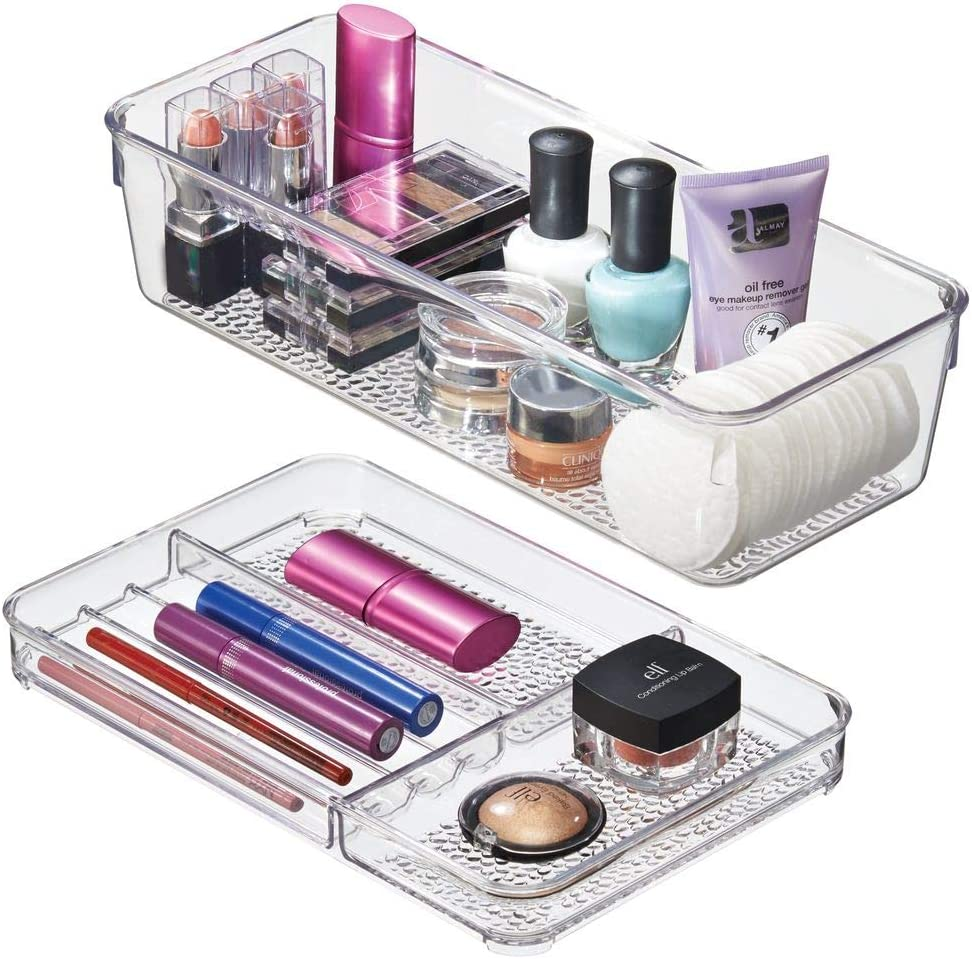 mDesign Cosmetic Organizer Trays for Vanity Cabinet to Hold Makeup, Beauty Products - Set of 2, Clear