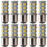 EverBright 10-Pack Warm White 360Lums 1157 BAY15D 1016 1034 7528 1157A 2057 Base 18 SMD 5050 LED Replacement for Car Incandescence Bulb Interior RV Camper Brake Turn Light Lamp DC 12V