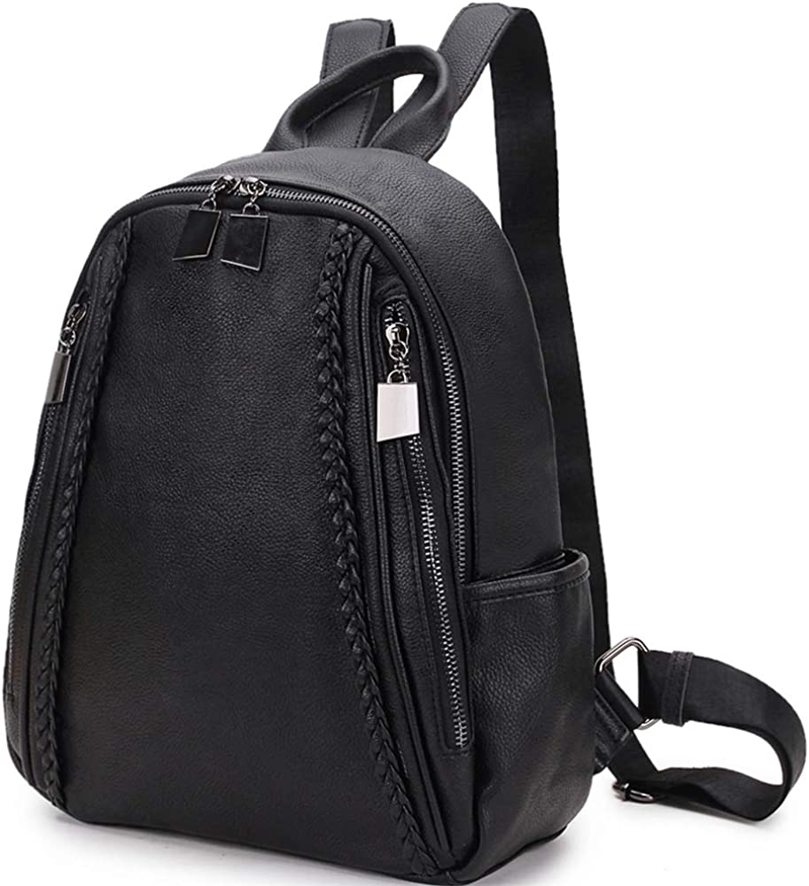 Women Backpack Purse,Fashion Grain PU Leather and Nylon Shoulder Bag for Ladies Small Casual Daypack