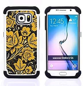 """Samsung Galaxy S6 / SM-G920 - 3 en 1 impreso colorido de Altas Prestaciones PC Funda chaqueta Negro cubierta gel silicona suave (Mostaza Negro Vintage Wallpaper"""")"""
