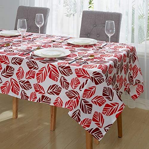 Deconovo Mantel de Mesa Rectangular Tela Oxford para Cocina Comedor Sal/ón Restaurante 137 x 274 cm Rojo