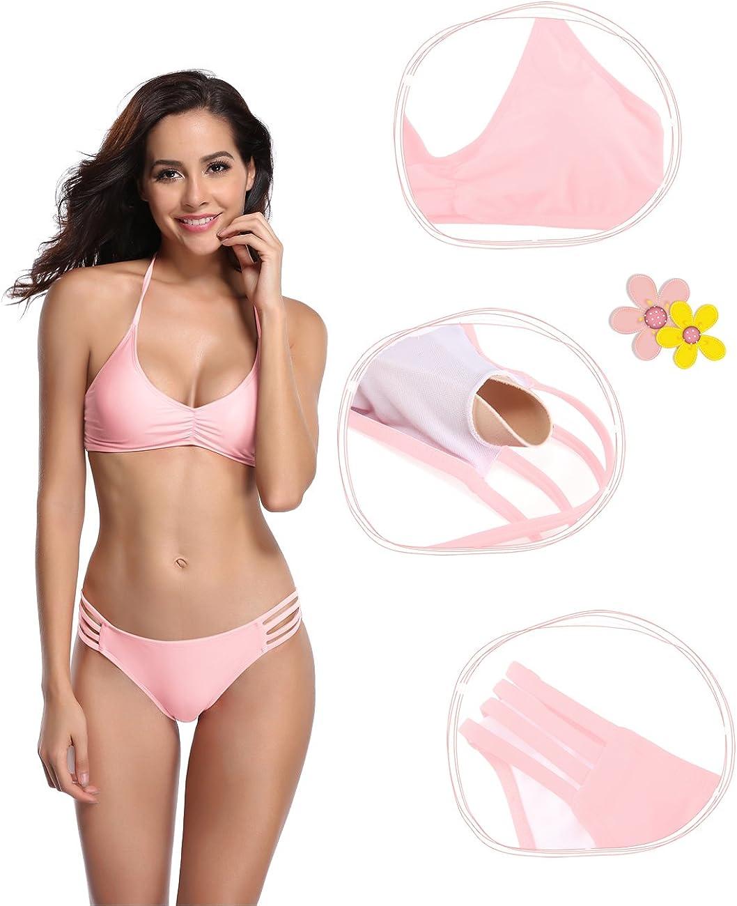 SHEKINI Damen Bikini Set Elegant Neckholder Gepolstert Bandage Bikini Raffung Push up Oberteil Bikinihose Bademode Badeanz/üge