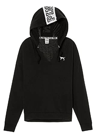 1773a9a4ea1a6 Victoria's Secret Pink Split High & Low Pullover Hoodie Small Black ...