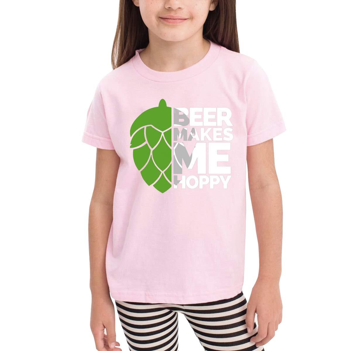 Beer Makes Me Hoppy Unisex Youths Short Sleeve T-Shirt Kids T-Shirt Tops Black