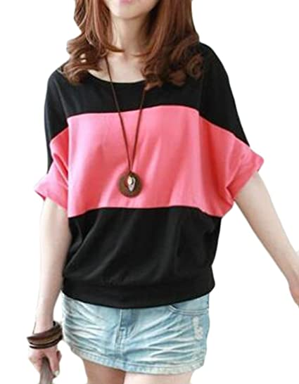 8db540054 UUYUK Women Batwing Sleeve Loose Color Block Crew Neck Tops T-Shirt Blouse  at Amazon Women s Clothing store