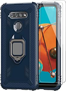 SunStory Compatible with LG K51 Case with HD Screen Protector [ 2 Pack ],[Military Grade Protective ] Soft TPU Shockproof LG Q51 Phone Case with Finger Ring Holder Kickstand Case for LG K51 (Blue)