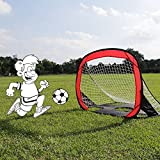 ZUINIUBI Pop-Up Soccer Goal, 2-in-1 Foldable Portable Football Gate Net Goal with Carry Bag Practice for Children Students Soccer Training 3.6ft