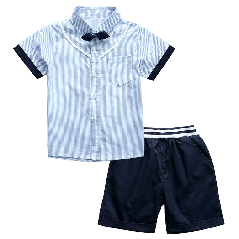 Little Boy 2 Pieces Navy Blue Striped Clothing Set Short Suit for Wedding 6T by POBIDOBY (Image #1)