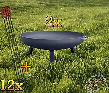 2 x Brasero con rechteckigen pies, XL, aprox. 55 cm Con Barbacoa/