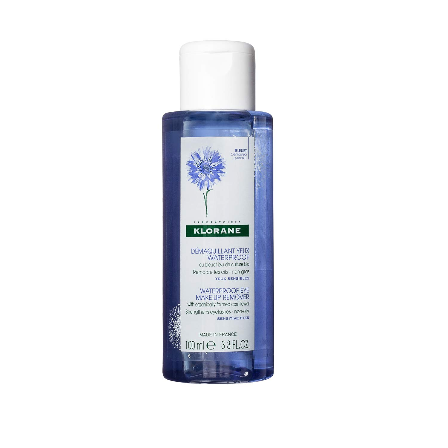Klorane Waterproof eye make-up remover with organically farmed Cornflower, 3.4 fl. oz.