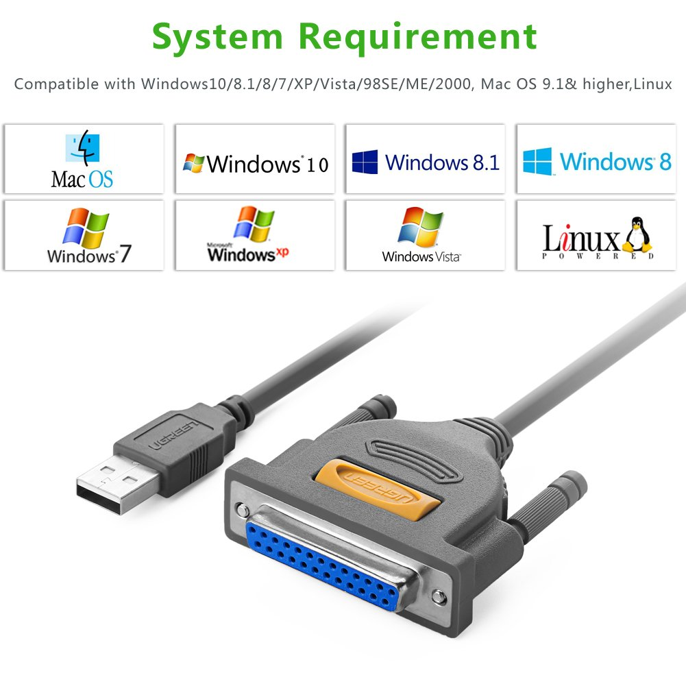 Usb To Ieee 1284 Wiring Diagram Library Parallel Output Amazoncom Ugreen Db25 Printer Cable Adapter Male Female Connector