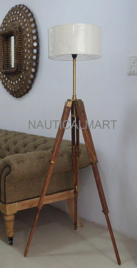 56'' OAK WOOD THREE FOLD WOODEN TRIPOD FLOOR LAMP FOR LIVING ROOM