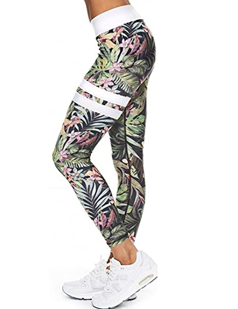 30a471c52 Mallas Deportivas Mujer Leggins Yoga Pantalon Elastico Cintura Altura  Polainas para Running Pilates Fitness, A-flor Gris, L: Amazon.es: Ropa y  accesorios