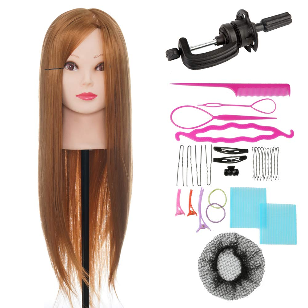 ViogrIA 26 Loog Hair Mannequin head Practice Training Head Cosmetology Mannequin Head Manikin Doll Head with Clamp & Braiding Tool