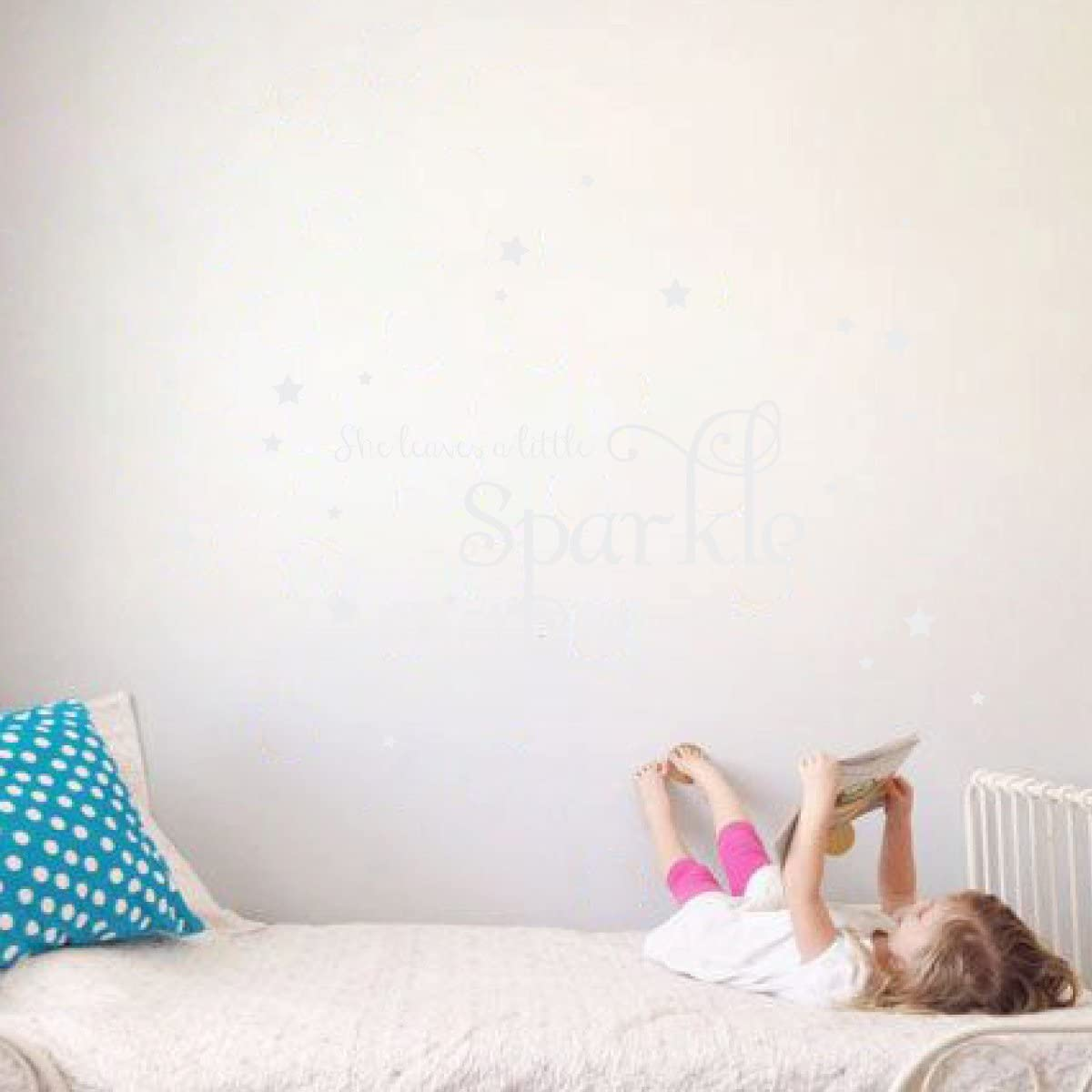 She Leaves a Little Sparkle Girls Room Vinyl Wall Decal Sticker Inspirational Quote with Stars (White, 15x36 inches)