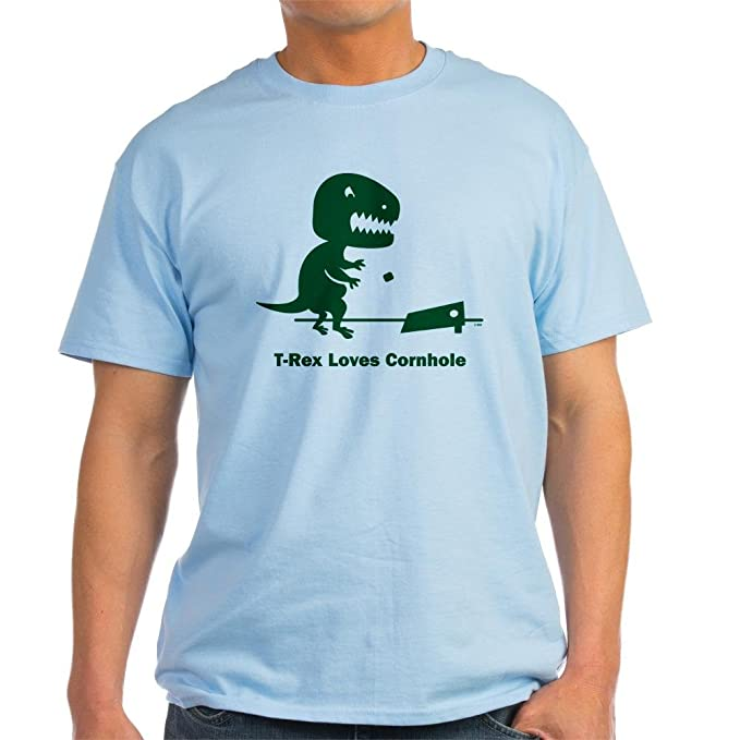 32691864b3a3 Amazon.com: CafePress T-Rex Loves Cornhole Light T-Shirt Cotton T ...