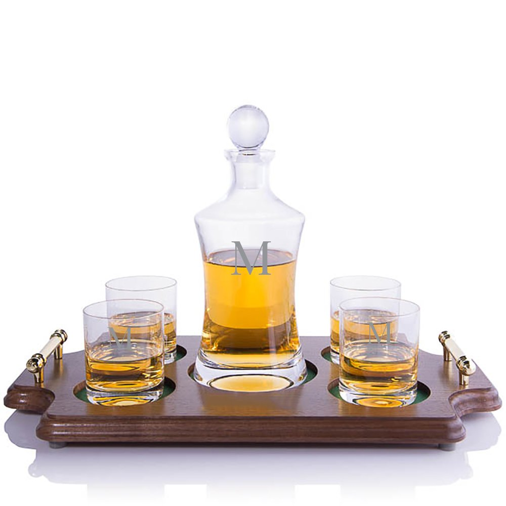 Personalized Waterford Vintage Hourglass Whiskey Liquor Decanter & 4 Rocks Glasses with Walnut Serving & Presentation Tray with Brass Handles Engraved & Monogrammed - Retirement Gift