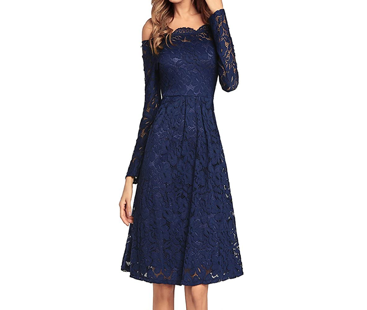 bluee Haiyugua 2018 New Women's oneNeck Sexy LongSleeved Slim lace Dress