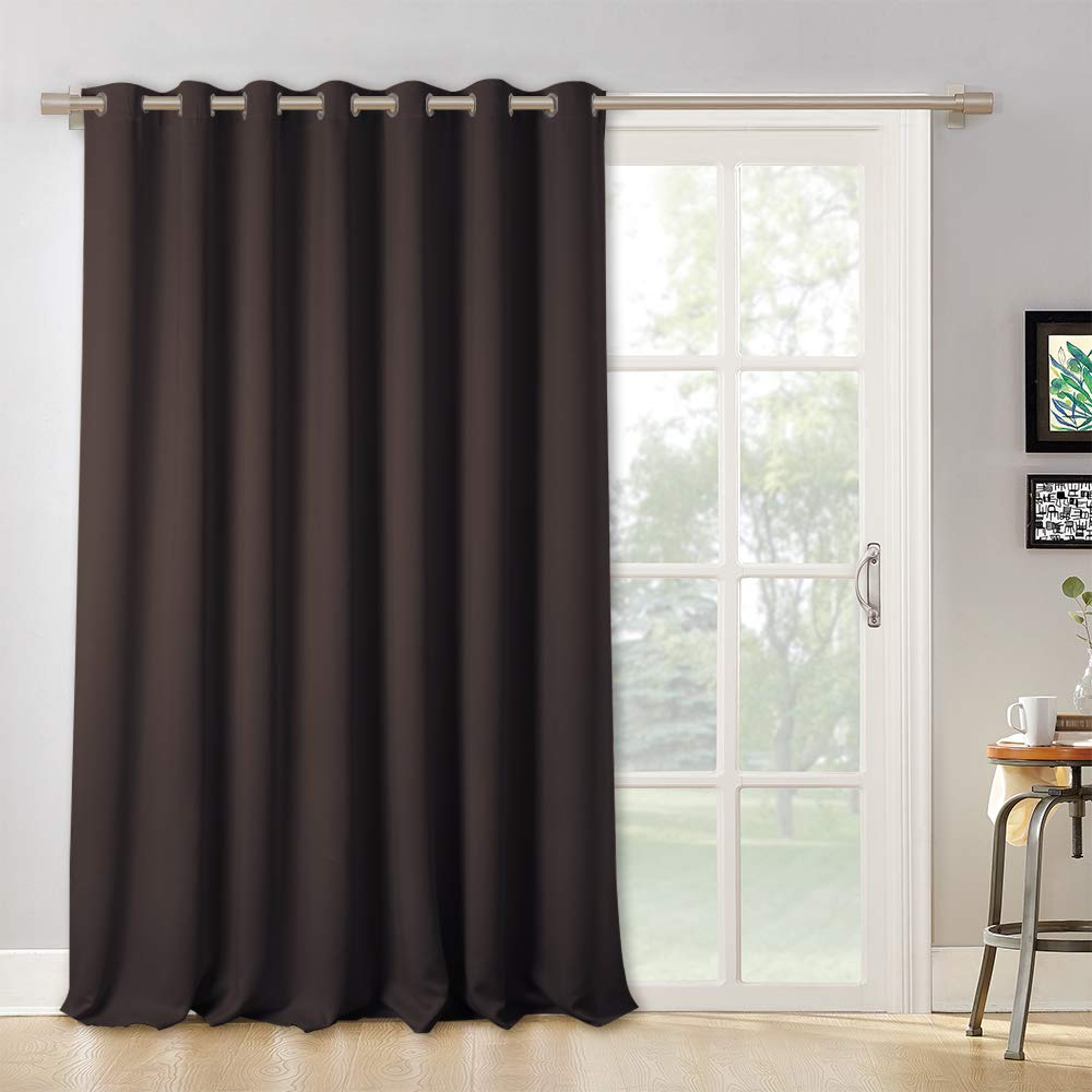 RYB HOME Vertical Blinds for Patio Door - Large Window Curtains for Gazebo Patio Glass Door, Wide Width Drape Panel for Living Room/Office/Slider Door, Wide 100 by Long 95 inch, Toffee Brown