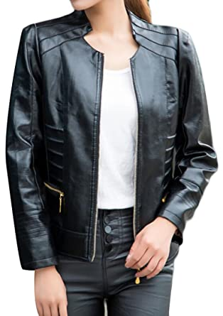 Womens Leather Motorcycle Pu Sweatwater Fashion Faux Bomber Biker htsQrCxd