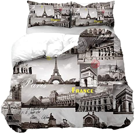 Feelyou Modern Cityscape Comforter Cover Twin For Kids Boys Vintage Eiffel Tower Print Bedding Set France Paris Themed Duvet Cover Grey Lightweight Breathabe Microfiber No Comforter Home Kitchen