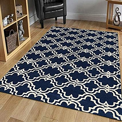Amazon Com Amer Rugs Modern Navy Ivory Hand Tufted Wool Area Rug 9