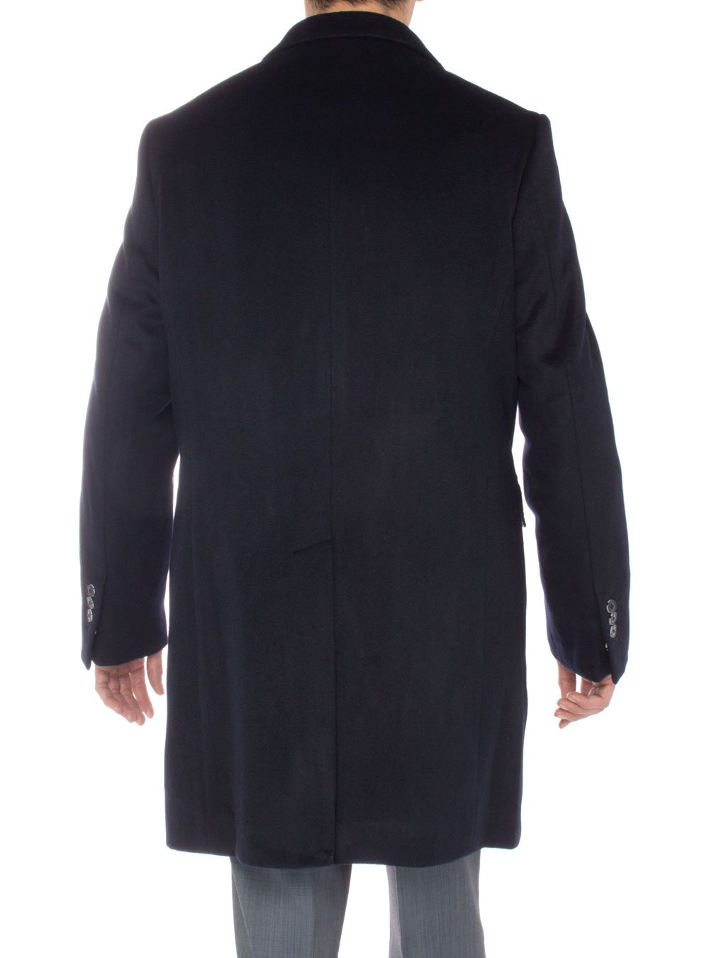 Luciano Natazzi Men's Cashmere Topcoat Modern Ticket Pocket Trench Coat Overcoat (48 US - 58 EU, Navy Blue) by Luciano Natazzi (Image #4)