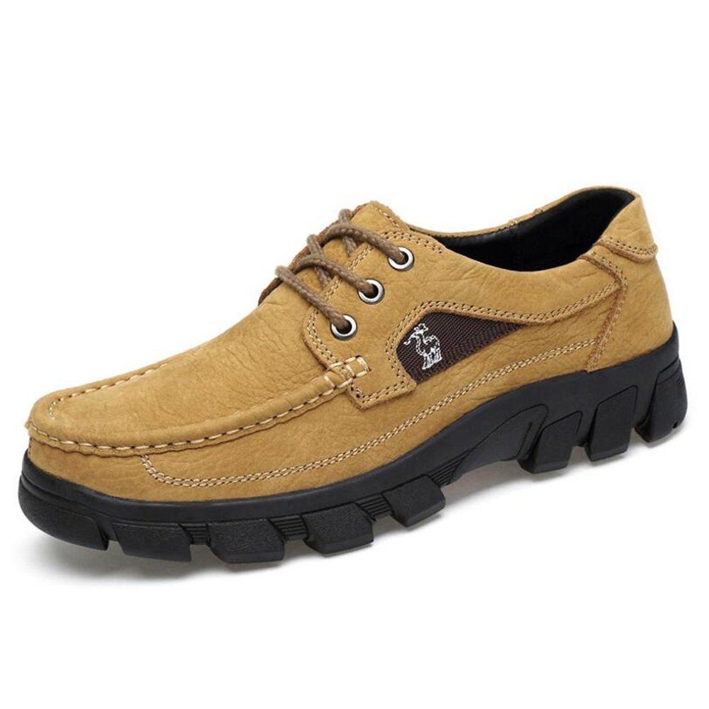 Zapatos de hombre Nubuck Leather Spring Otoño Comfort Mocasines y Slip-Ons para ocasiones especiales Oficina y carrera marrón oscuro Marrón claro GAOLIXIA ( Color : Light brown , tamaño : 43 ) 43|Light brown