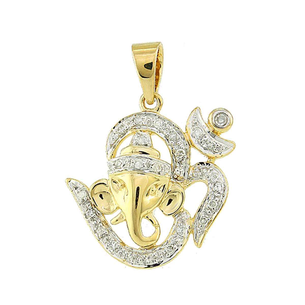 Solid 14K Yellow Gold 0.10 Ct Round Cut Natural Diamond Om /& Ganesha Pendant