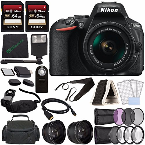Nikon D5500 DSLR Camera with 18-55mm Lens (Black) + Sony 64GB UHS-I SDXC Memory Card (Class 10) + Remote + Flash + Cleaning Cloth Bundle