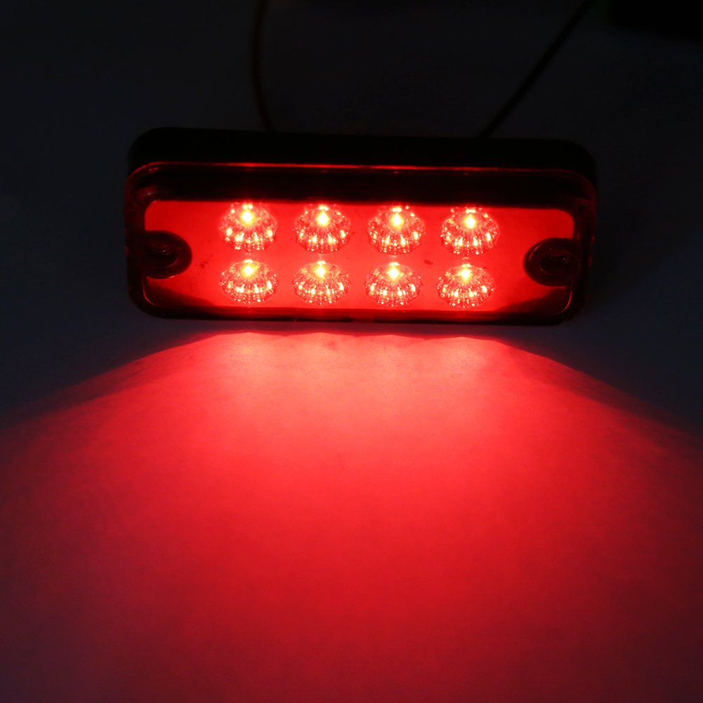 Qiilu 6pcs 8 LED Side Marker Light Indicator Lamp 12V Truck Trailer Lorry Yellow