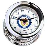 Atlantis Chrome Plated Quartz Clock #NV220500 01B (#8 Emblem Printed in Full Color with Navy Blue Numbers)